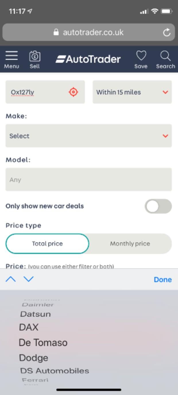 Hard to select car make on mobile